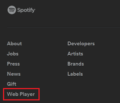 Spotify web screen cap