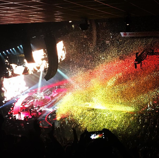 High view of confetti falling