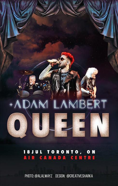 Queen + Adam Lambert unofficial poster for Toronto