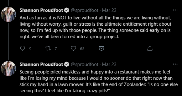 Shannon Proudfoot tweets about people in restaurants